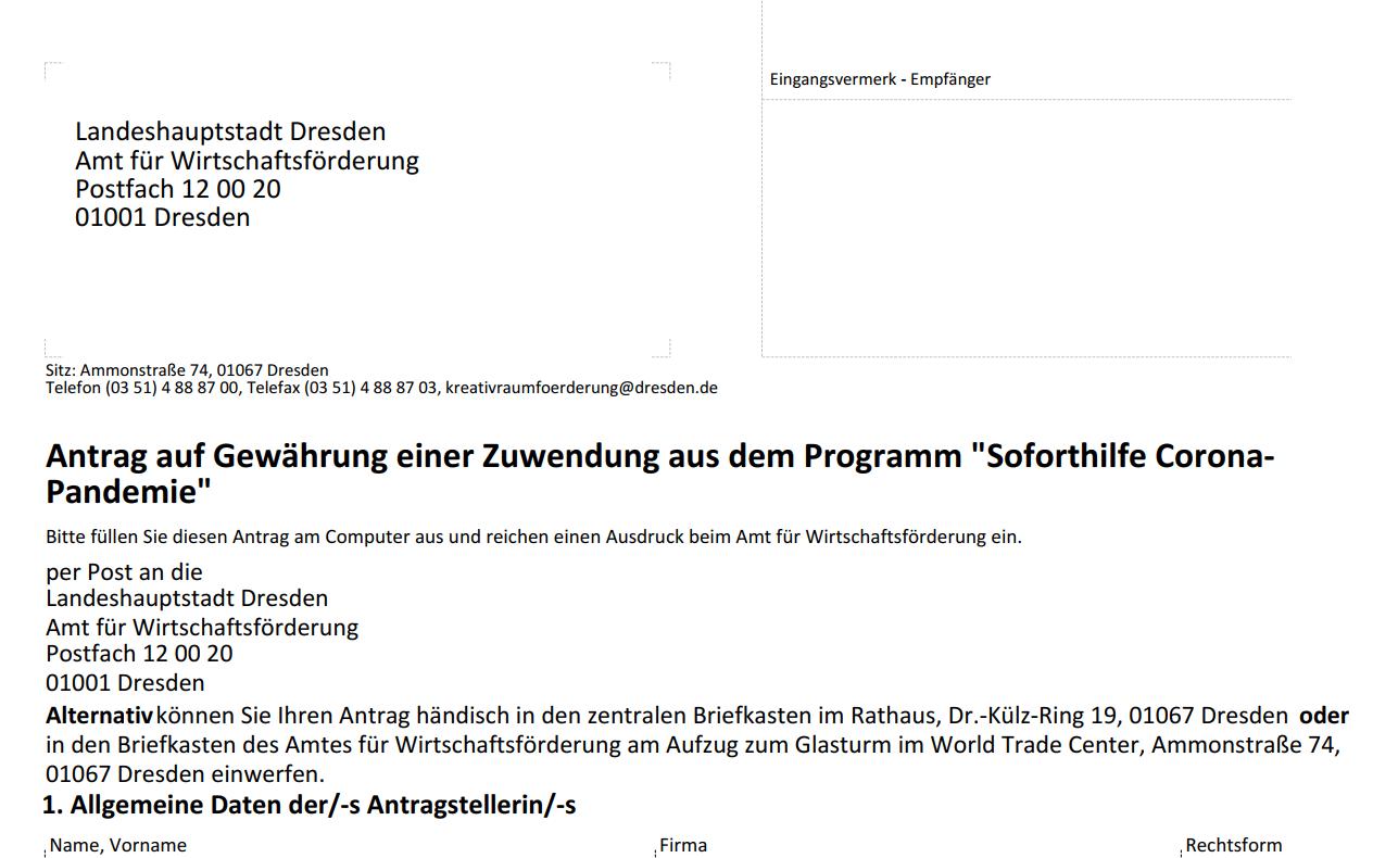 Antrag für die Soforthilfe Corona-Pandemie; Virtual Office Dresden
